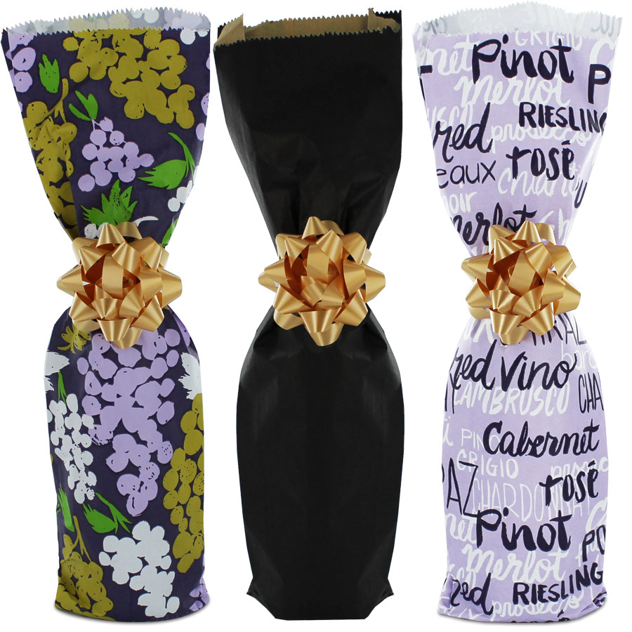 Gift Wrapped Wine Bottle Bags