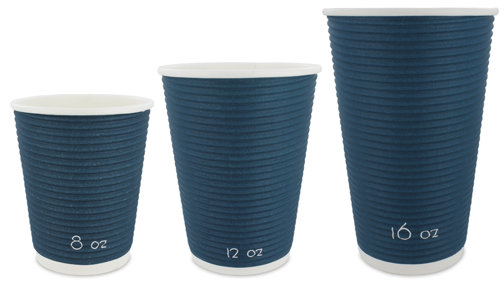 blue ripple wrap paper cups