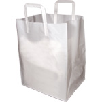 White Plastic Takeout Bags with Folded Loop Handle - 12 x 10 x 16
