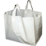 White Plastic Takeout Bags with Soft Loop Handle (Half Tray size) 14 x 11.5 x 12