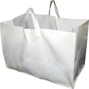 "White Plastic Takeout Bags with Soft Loop Handle (Full Tray Size) 22 x 14 x 15.25"" #7"