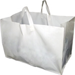 White Plastic Takeout Bags with Soft Loop Handle (Full Tray Size) 22 x 14 x 15.25