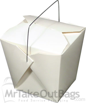 White FoldPak JUMBO Chinese Take Out Boxes with Wire Handle