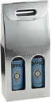 Argento Metallic Silver Embossed 2-Bottle Wine Carrier Boxes