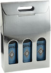 Argento Metallic Silver Embossed 3-Bottle Wine Carrier Boxes