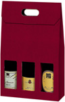 Bordeaux Textured Rib 3-Bottle Carrier Boxes