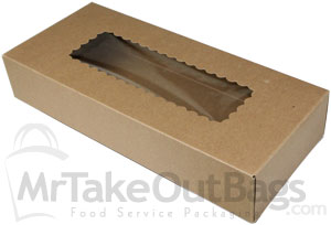 Bakery Box for Holiday Cookie Gift Sets JCXPACK 4PCS 12 x 5 x 1.5 inches Premium Kraft Brown Cookies Boxes