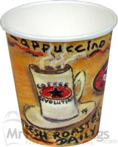 10 Oz Coffee Revolution Design Hot Drink Paper Cups