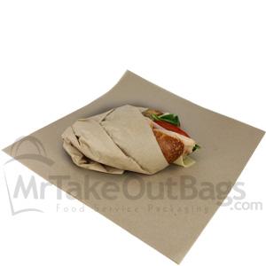 Dry Wax Large Sandwich Wrap Brown Kraft 14 X 18