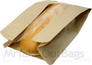 Large Loaf Brown Kraft PLA Window Paper Bread Bags