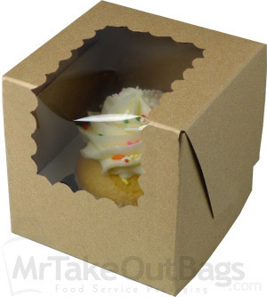 4 X 4 X 4 Quot Recycled Brown Kraft Individual Cupcake Boxes