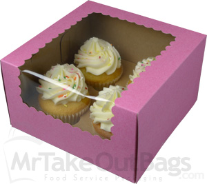 7 X 7 X 4 Quot Pink Strawberry Tinted Cupcake Boxes With