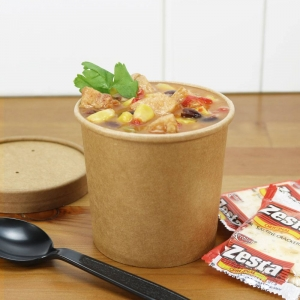 Brown Kraft Paper Soup Containers/Cups With Lids - 12 oz