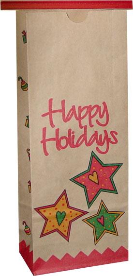 1 Lb Holiday Print Coffee Bags On Kraft Coffee Bags