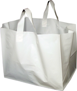 White Plastic Takeout Bags With Soft Loop Handle Half