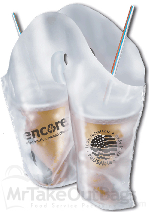 13 X 13 3 Wave Style Divided Beverage Cup Carrier Bag