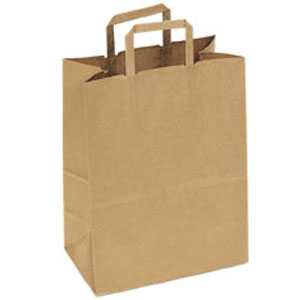 Natural Brown Kraft Flat Handle Paper Shopping Bags 12 X 7 X 15 75