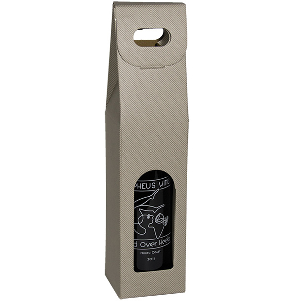 Grigio Gray Groove Single Bottle Wine Carrier Boxes