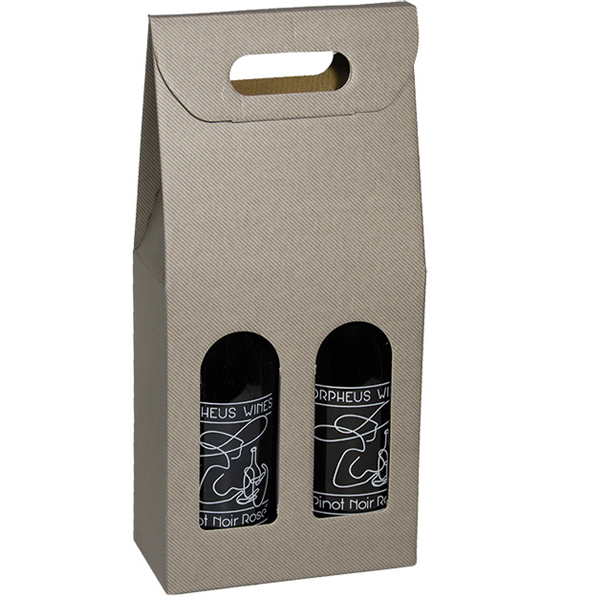 Grigio Gray Groove 2 Bottle Wine Carrier Boxes Handled