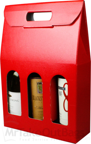 Pella Rossa Red Three Bottle Wine Carrier Boxes Handled