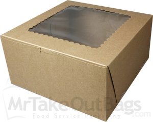 10 X 10 X 5 Quot Recycled Brown Kraft Bakery Boxes With Window