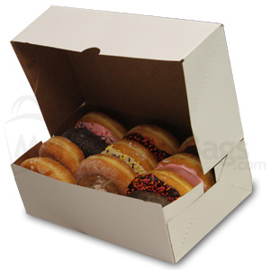10 X 6 1 4 X 3 1 4 Quot White Donut Box With Natural Kraft