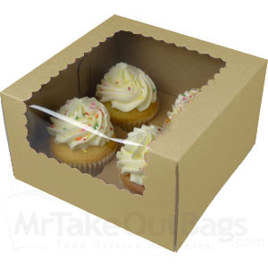 7 X 7 X 4 Quot Recycled Brown Kraft Cupcake Boxes With Window