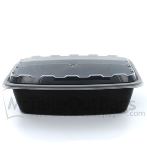 38 Oz Rectangular Plastic Food Container Black Baseclear Lid