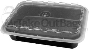 16 Oz Plastic Container Black Food Containers With Clear Lids
