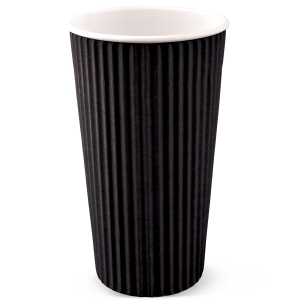 20 Oz Black Insulated Ripple Wrap Paper Coffee Cups
