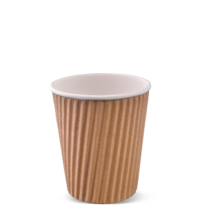 8 Oz Brown Kraft Insulated Ripple Wrap Paper Coffee Cups
