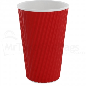 16 oz red insulated ripple wrap paper coffee cups red ripple