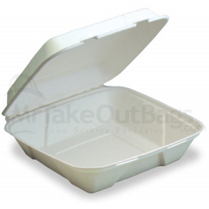 9 X 9 X 3 Sturdy Value Sugar Cane Clamshell Hinged Takeout