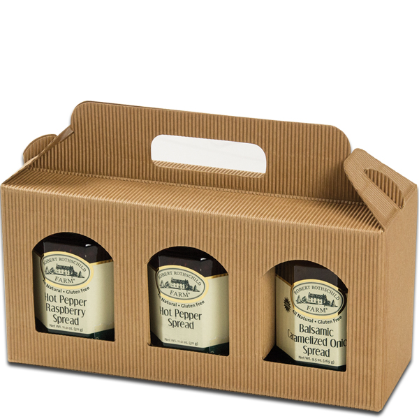 Jar Gift Box Natural Textured Rib Window 3 Jar Carrier