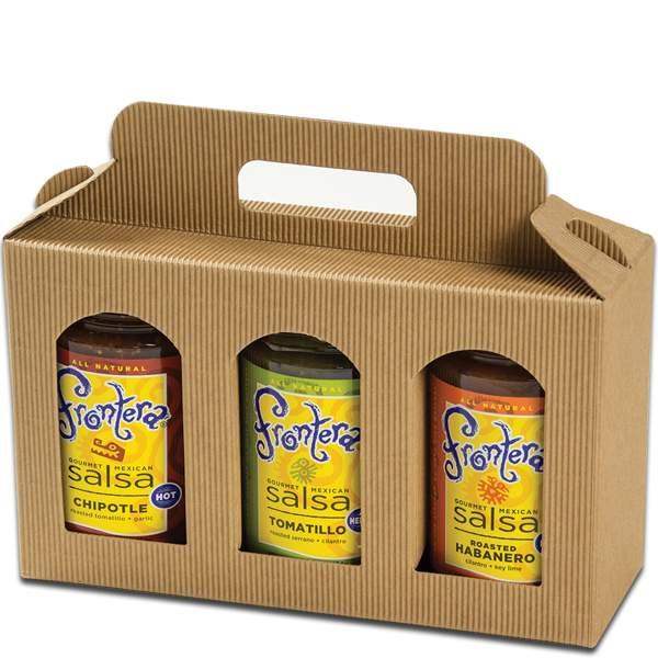 Jar Gift Box Natural Textured Rib Tall Window 3 Jar