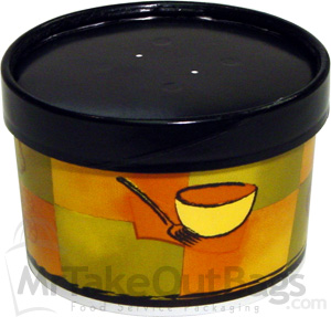 16 Oz Squat Streetside Soup Container With Black Paper Vented Lids