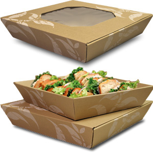 16 Catering Square Stackable Set White Leaves on Kraft Catering