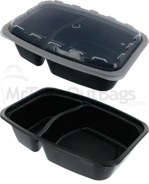 28 oz 2 Compartment Rectangular Plastic Food Container Black Base