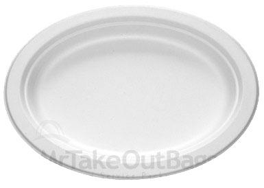 12 Quot Heavy Duty White Sugar Cane Fiber Oval Platter